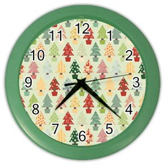 Christmas Tree Pattern Color Wall Clocks by Valentinaart