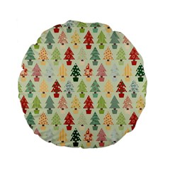 Christmas Tree Pattern Standard 15  Premium Flano Round Cushions by Valentinaart