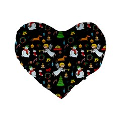 Christmas Pattern Standard 16  Premium Heart Shape Cushions by Valentinaart