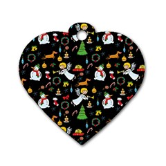Christmas Pattern Dog Tag Heart (one Side) by Valentinaart