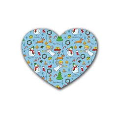 Christmas Pattern Rubber Coaster (heart)  by Valentinaart