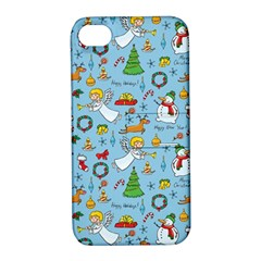 Christmas Pattern Apple Iphone 4/4s Hardshell Case With Stand by Valentinaart