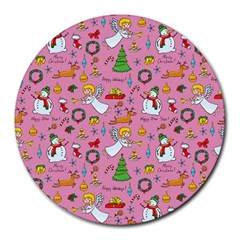 Christmas Pattern Round Mousepads by Valentinaart