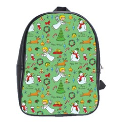 Christmas Pattern School Bag (xl) by Valentinaart