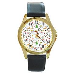 Christmas Pattern Round Gold Metal Watch by Valentinaart