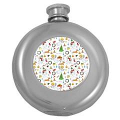 Christmas Pattern Round Hip Flask (5 Oz) by Valentinaart