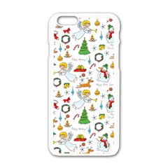 Christmas Pattern Apple Iphone 6/6s White Enamel Case by Valentinaart