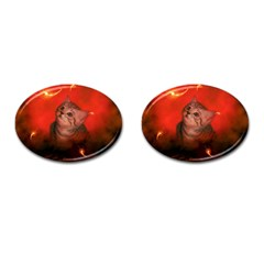 Cute Little Kitten, Red Background Cufflinks (oval) by FantasyWorld7