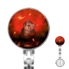 Cute Little Kitten, Red Background Stainless Steel Nurses Watch by FantasyWorld7