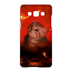 Cute Little Kitten, Red Background Samsung Galaxy A5 Hardshell Case  by FantasyWorld7