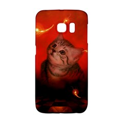Cute Little Kitten, Red Background Galaxy S6 Edge by FantasyWorld7