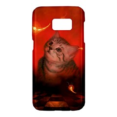 Cute Little Kitten, Red Background Samsung Galaxy S7 Hardshell Case  by FantasyWorld7