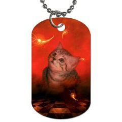 Cute Little Kitten, Red Background Dog Tag (one Side) by FantasyWorld7