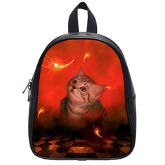 Cute Little Kitten, Red Background School Bag (small) by FantasyWorld7