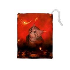 Cute Little Kitten, Red Background Drawstring Pouches (medium)  by FantasyWorld7