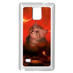 Cute Little Kitten, Red Background Samsung Galaxy Note 4 Case (white) by FantasyWorld7