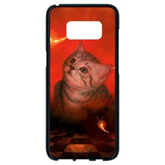 Cute Little Kitten, Red Background Samsung Galaxy S8 Black Seamless Case by FantasyWorld7