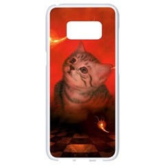 Cute Little Kitten, Red Background Samsung Galaxy S8 White Seamless Case by FantasyWorld7