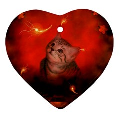 Cute Little Kitten, Red Background Ornament (heart) by FantasyWorld7