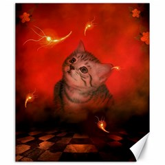 Cute Little Kitten, Red Background Canvas 20  X 24   by FantasyWorld7