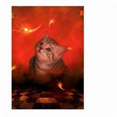Cute Little Kitten, Red Background Large Garden Flag (two Sides) by FantasyWorld7