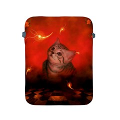 Cute Little Kitten, Red Background Apple Ipad 2/3/4 Protective Soft Cases