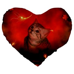 Cute Little Kitten, Red Background Large 19  Premium Flano Heart Shape Cushions by FantasyWorld7