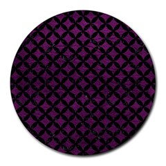 Circles3 Black Marble & Purple Leather Round Mousepads by trendistuff
