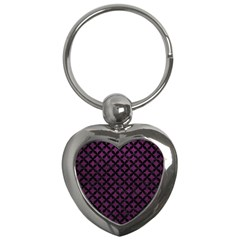 Circles3 Black Marble & Purple Leather Key Chains (heart)  by trendistuff