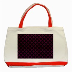 Circles3 Black Marble & Purple Leather Classic Tote Bag (red) by trendistuff