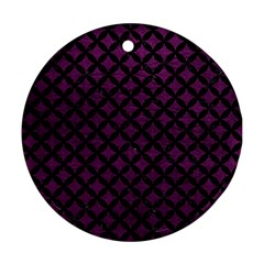 Circles3 Black Marble & Purple Leather Round Ornament (two Sides) by trendistuff