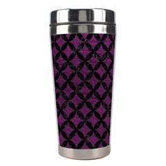 Circles3 Black Marble & Purple Leather Stainless Steel Travel Tumblers by trendistuff
