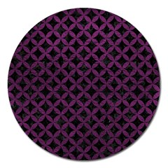 Circles3 Black Marble & Purple Leather (r) Magnet 5  (round) by trendistuff
