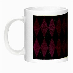 Diamond1 Black Marble & Purple Leather Night Luminous Mugs by trendistuff