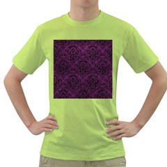 Damask1 Black Marble & Purple Leather Green T Shirt by trendistuff