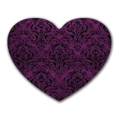 Damask1 Black Marble & Purple Leather Heart Mousepads by trendistuff