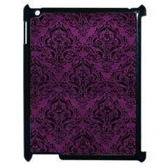 Damask1 Black Marble & Purple Leather Apple Ipad 2 Case (black) by trendistuff