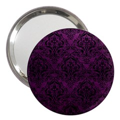 Damask1 Black Marble & Purple Leather 3  Handbag Mirrors by trendistuff