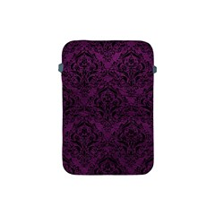 Damask1 Black Marble & Purple Leather Apple Ipad Mini Protective Soft Cases by trendistuff