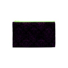 Damask1 Black Marble & Purple Leather (r) Cosmetic Bag (xs) by trendistuff