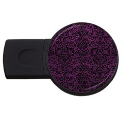 Damask2 Black Marble & Purple Leather Usb Flash Drive Round (2 Gb) by trendistuff
