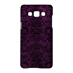 Damask2 Black Marble & Purple Leather Samsung Galaxy A5 Hardshell Case  by trendistuff
