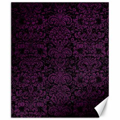 Damask2 Black Marble & Purple Leather (r) Canvas 20  X 24   by trendistuff