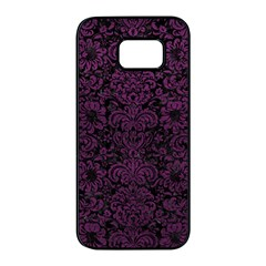 Damask2 Black Marble & Purple Leather (r) Samsung Galaxy S7 Edge Black Seamless Case by trendistuff