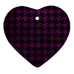 Houndstooth1 Black Marble & Purple Leather Ornament (heart) by trendistuff
