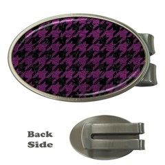 Houndstooth1 Black Marble & Purple Leather Money Clips (oval)  by trendistuff