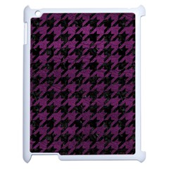 Houndstooth1 Black Marble & Purple Leather Apple Ipad 2 Case (white) by trendistuff