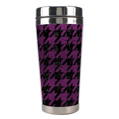 Houndstooth1 Black Marble & Purple Leather Stainless Steel Travel Tumblers by trendistuff