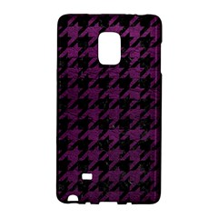 Houndstooth1 Black Marble & Purple Leather Galaxy Note Edge by trendistuff