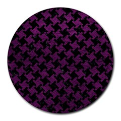 Houndstooth2 Black Marble & Purple Leather Round Mousepads by trendistuff